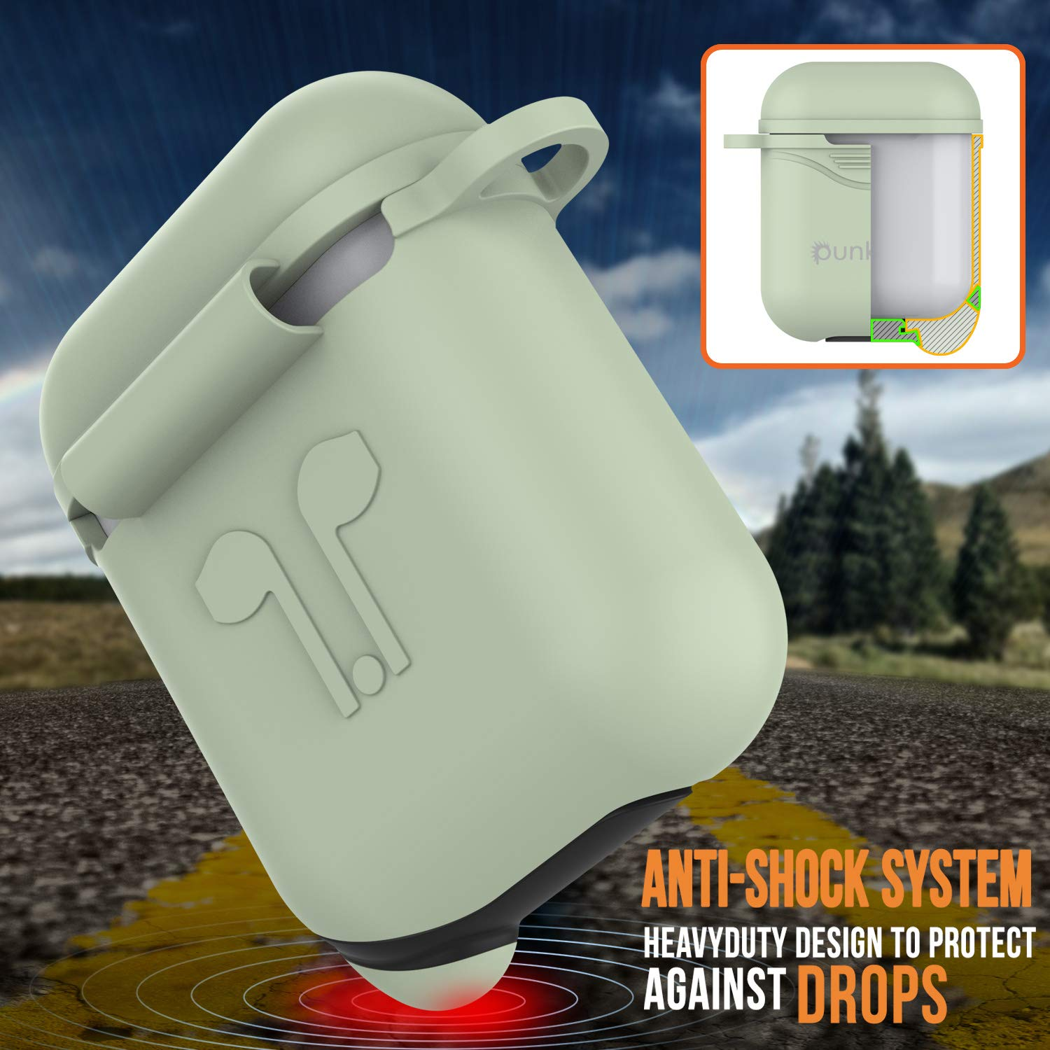 Punkcase Airpod Case with Keychain Carabiner | Protective Silicone Cover Compatible W/Apple Airpods [Shockproof] Protects Your Airpod Charging Case from Scratches & Your Airpods from Damage (Mint)