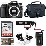 Canon EOS 80D DSLR (Body) Video Creator Kit w/ Rode VIDEOMIC GO, 32GB Card, Canon 100ES DSLR Bag + Bundle