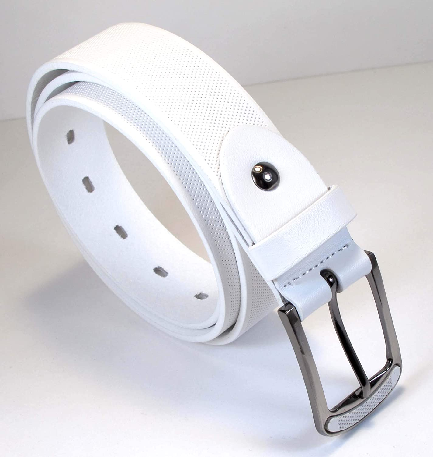 Mens Real Genuine Leather Belt Black Brown White 1.25 Wide S-L Casual Jeans TM4