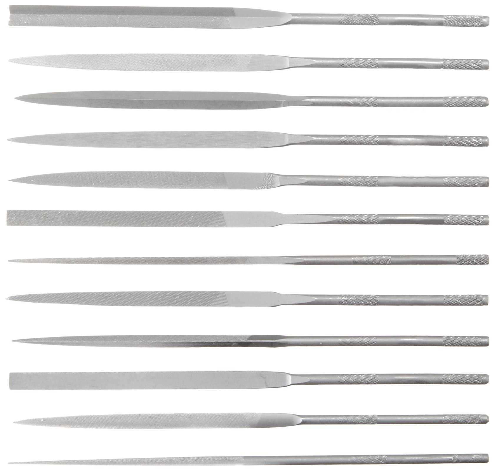 Nicholson 12 Piece Needle File Set with Handles, Swiss Pattern, Double Cut, #2 Coarseness, 4'' Length