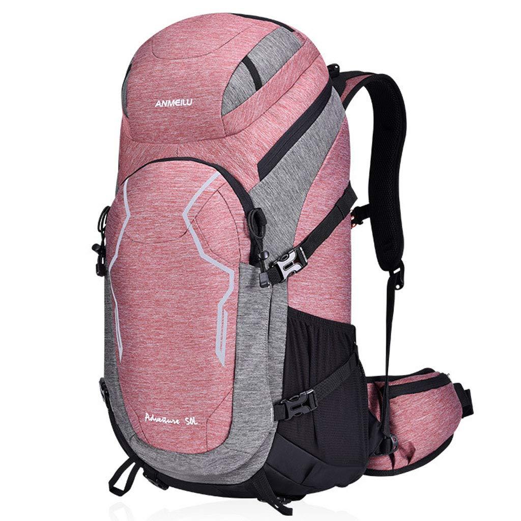 50L大容量スポーツバックパック防水アウトドアクライミングロッククライミングトラベルバッグ付きレインカバーデイデイウェア  pink B07QW1DBK6