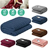 Scenic Bedding Washable Heated Electric Throw Rug Snuggle Blanket Fleece Random Colour Soft Coral Fleece - SAA Approved - Machine Washable