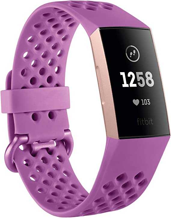 Fitbit Charge 3 Advanced Fitness Tracker with Heart Rate, Swim Tracking & 7 Day Battery - Rose-Gold/Berry, One Size