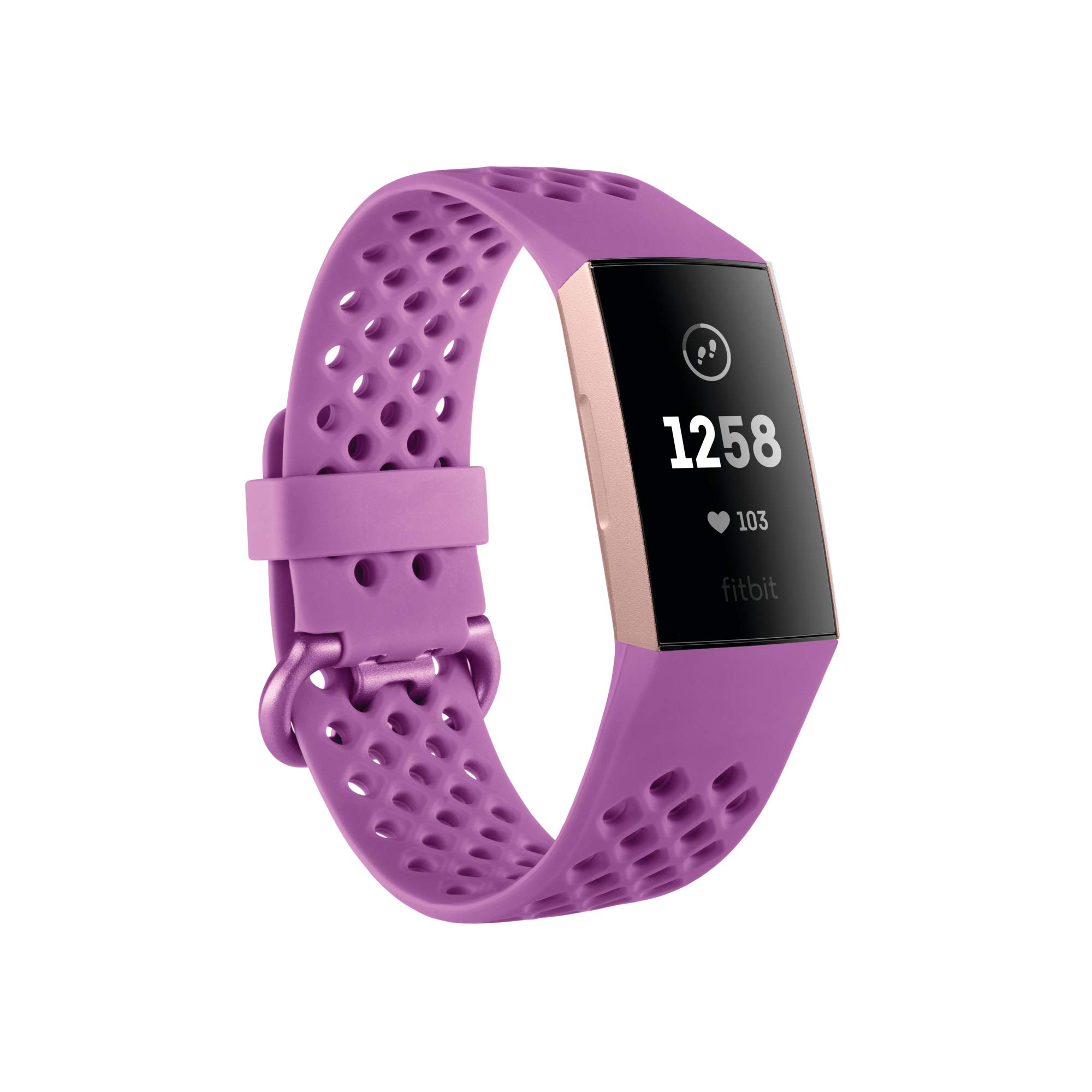 Fitbit Charge 3 Fitness Activity Tracker, Rose Gold/Berry, One Size (S & L Bands Included) by Fitbit