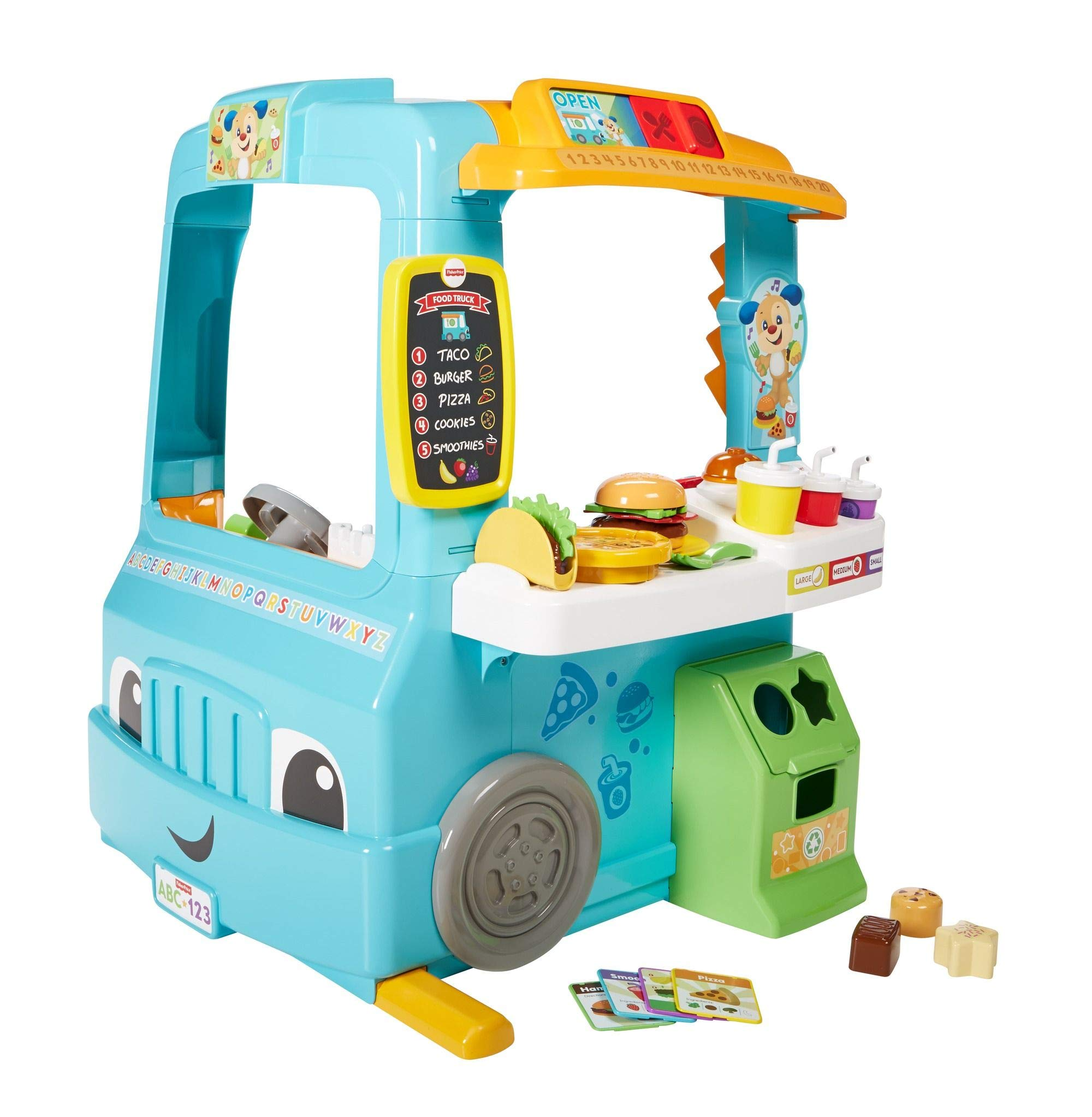 Fisher-Price Laugh and Learn Servin Up Fun Food Truck, Interactive Learning Toddler Role Play Toy, Speaking Toy, Gift for 18 Months Plus by Fisher-Price