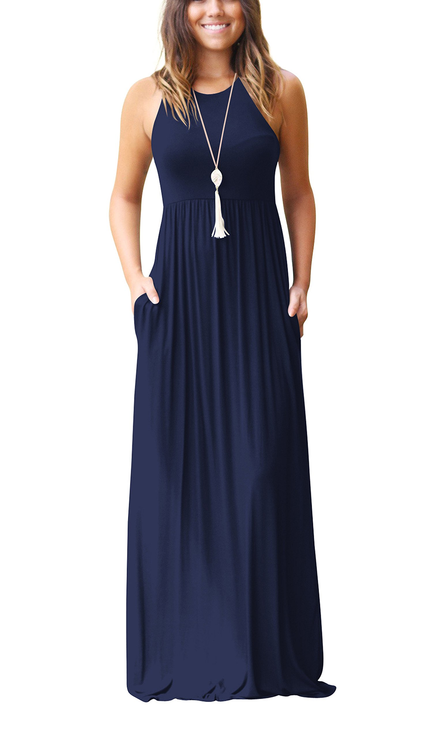ZIKKER Women's Sleeveless Racerback Loose Plain Maxi Dresses Casual Long Dresses with Pockets Navy Blue S