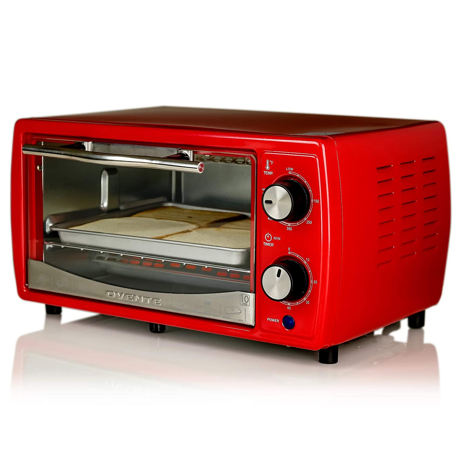 Ovente Electric Toaster Oven with Timer Knob and Tempered Glass Door, 700-Watts, 9.5 Liter, Cool-Touch Handle, Includes LED Light, Food Tray, and Grill Rack, Red (TO6895R)