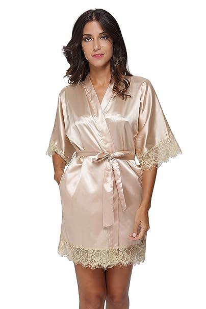 Women s Sexy Satin Short Kimono Robe with Lace Trim Bridal Party Robe  Sleepwear at Amazon Women s Clothing store  ff3a6b3e3