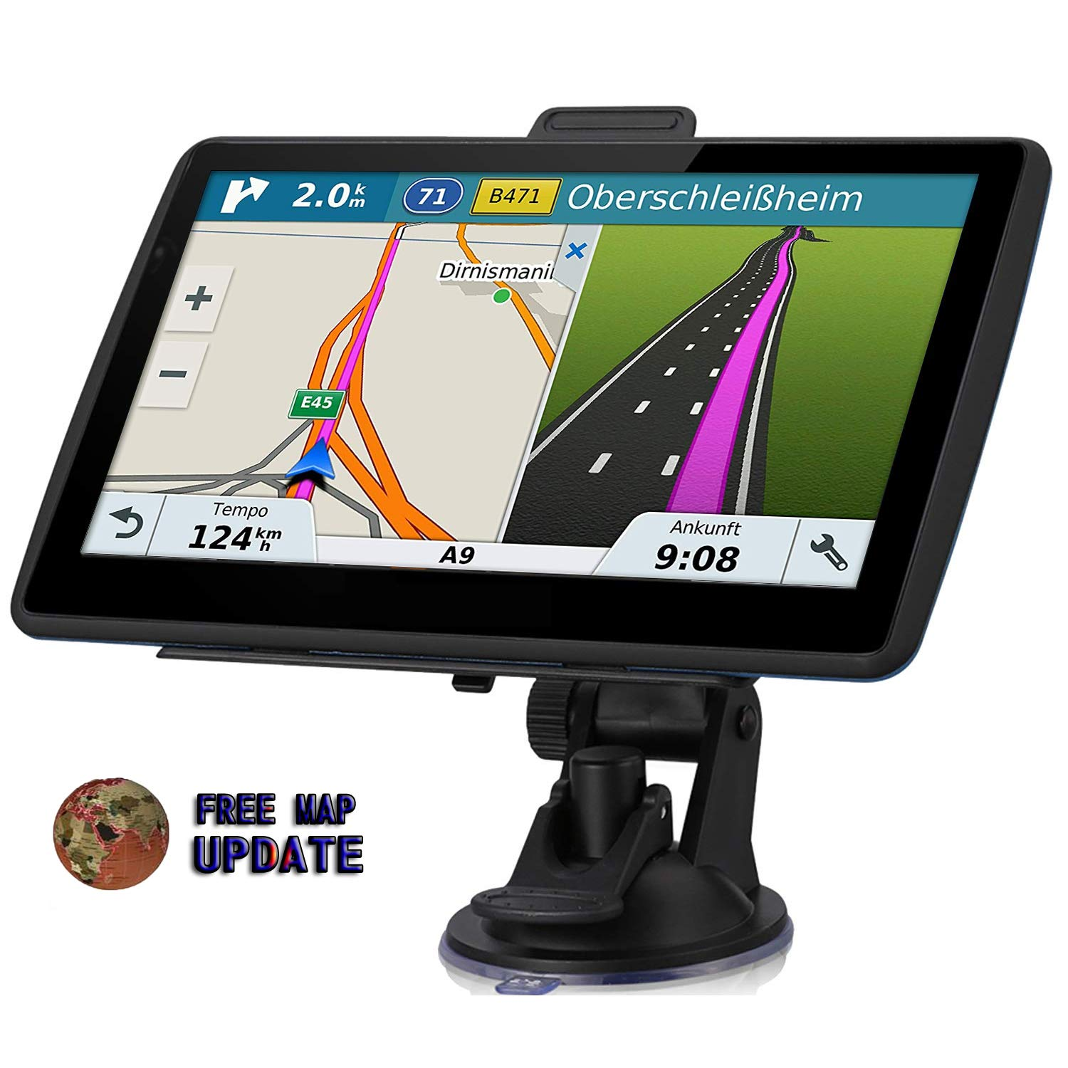 GPS Navigation for Car, 7-inch HD GPS 256-8GB Voice Broadcast Navigation, top-Loading North America map (USA, Canada, Mexico map) Lifetime map Free Update by JANFUN