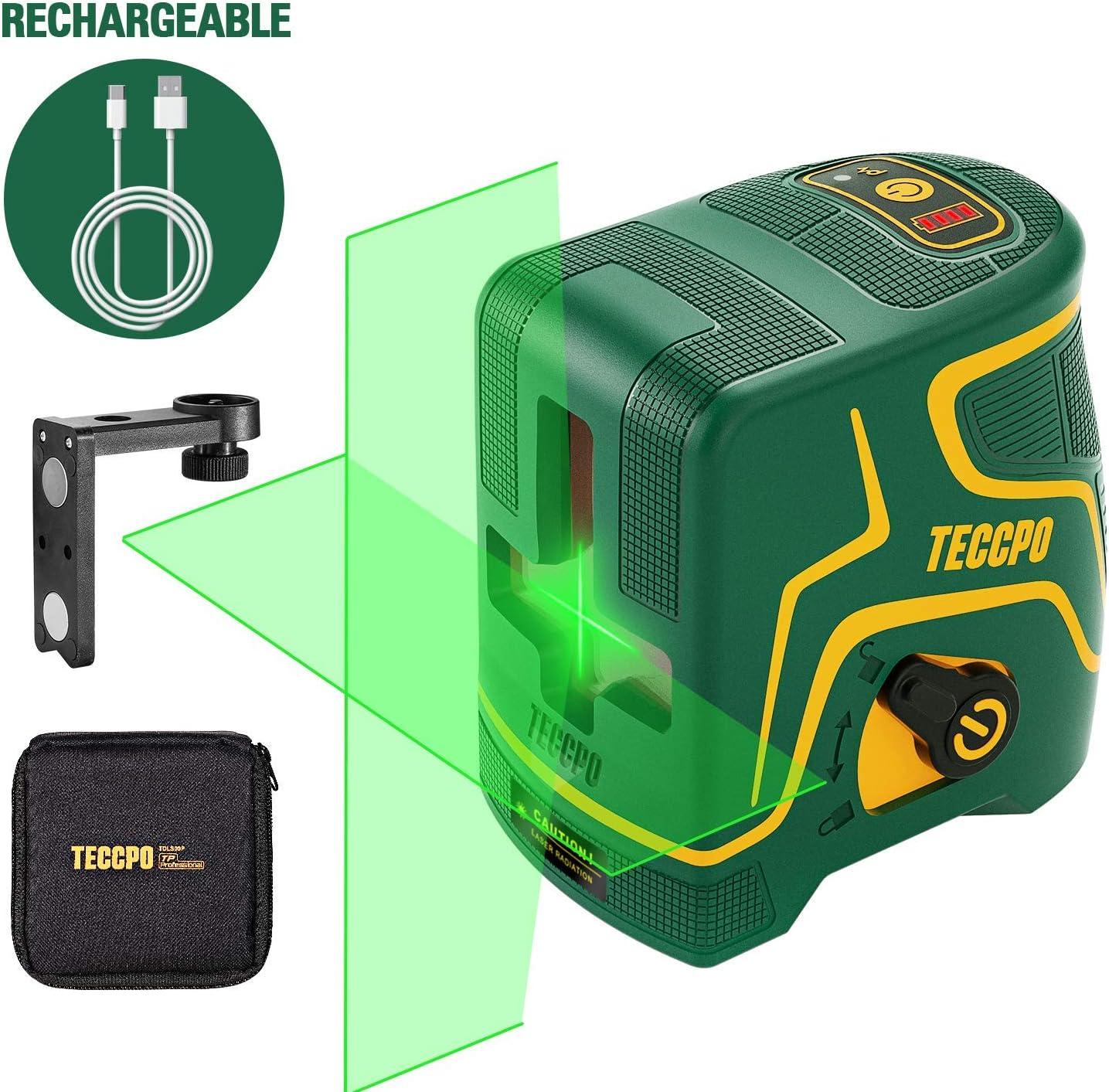 Nivel Láser Verde 30m TECCPO, USB Carga,120°Horizontal y Vertical,Líneas Cruzadas,para Diseño de Interiores,Autonivelación y Función de Pulso,Soporte Magnético,360° Giro,IP54,Bolsa Acolchada -TDLS09P