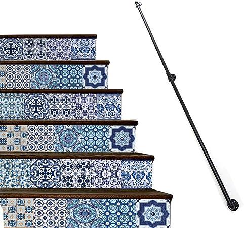 Escalera de barandilla pasamanos, barandillas Escalera for exterior, Etapas cubierta Loft de ancianos Seguridad Baranda, Corredor Negro Hierro forjado Mate carril de la escalera (Size : 25cm) : Amazon.es: Hogar