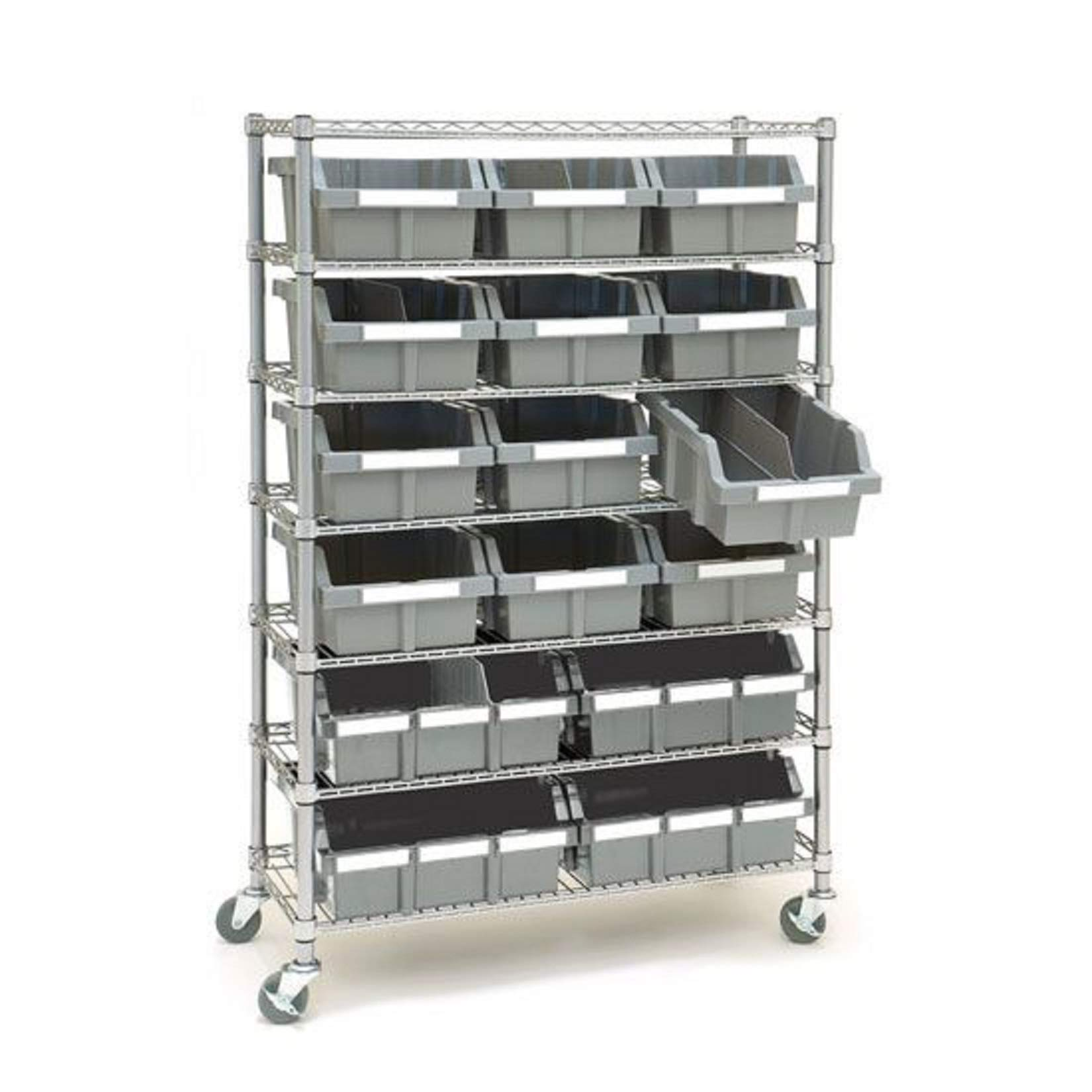 Seville Classics Commerical Grade NSF-Certified Bin Rack Storage Steel Wire Shelving System - 16 Bins - Gray
