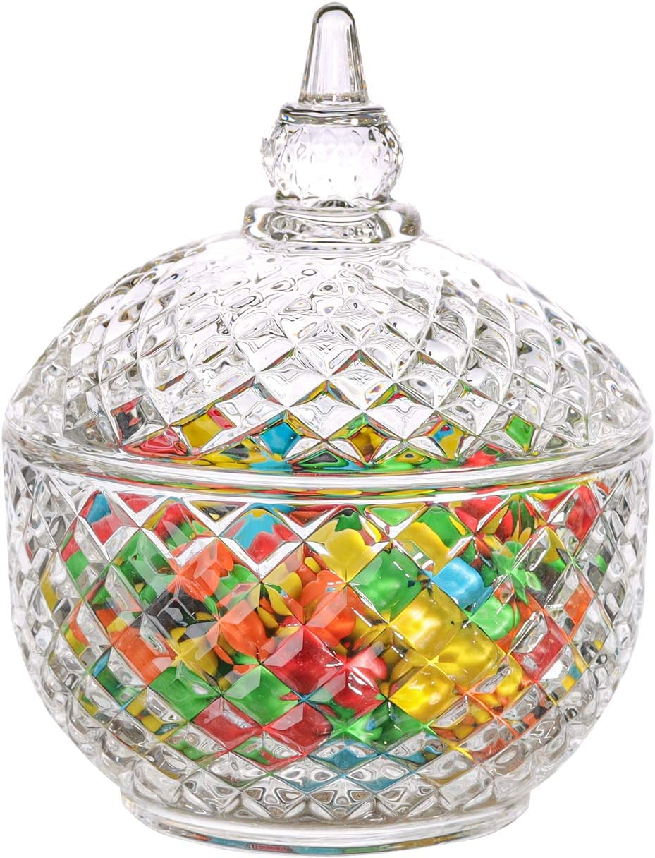 ComSaf Glass Candy Dish with Lid Decorative Candy Bowl, Crystal Covered Storage Jar, Set of 1(Diameter:3.7 Inch)
