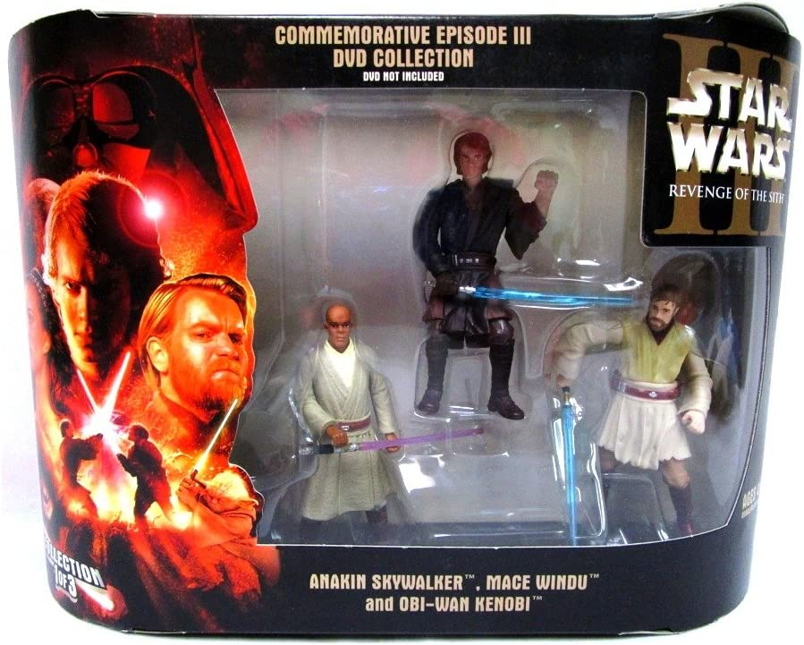 Amazon Com Star Wars Commemorative Episode Iii Revenge Of The Sith Dvd Collection 3 Pack Anakin Skywalker Mace Windu And Obi Wan Kenobi Toys Games