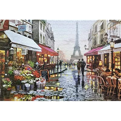 1000 Pieces Jigsaw Puzzles for Adults Paris Flower Street Landscape Puzzle Set, About Country Scenery, Funny Family Games,Home Decoration: Toys & Games
