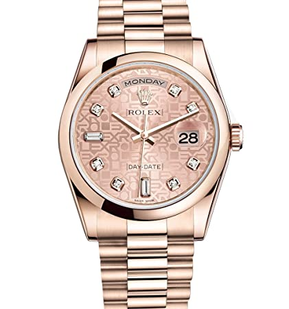 5225581aeef Amazon.com: Rolex Day-Date President 36mm Everose Gold Watch 118205 Pink  Jubilee Diamond Dial: Everything Else