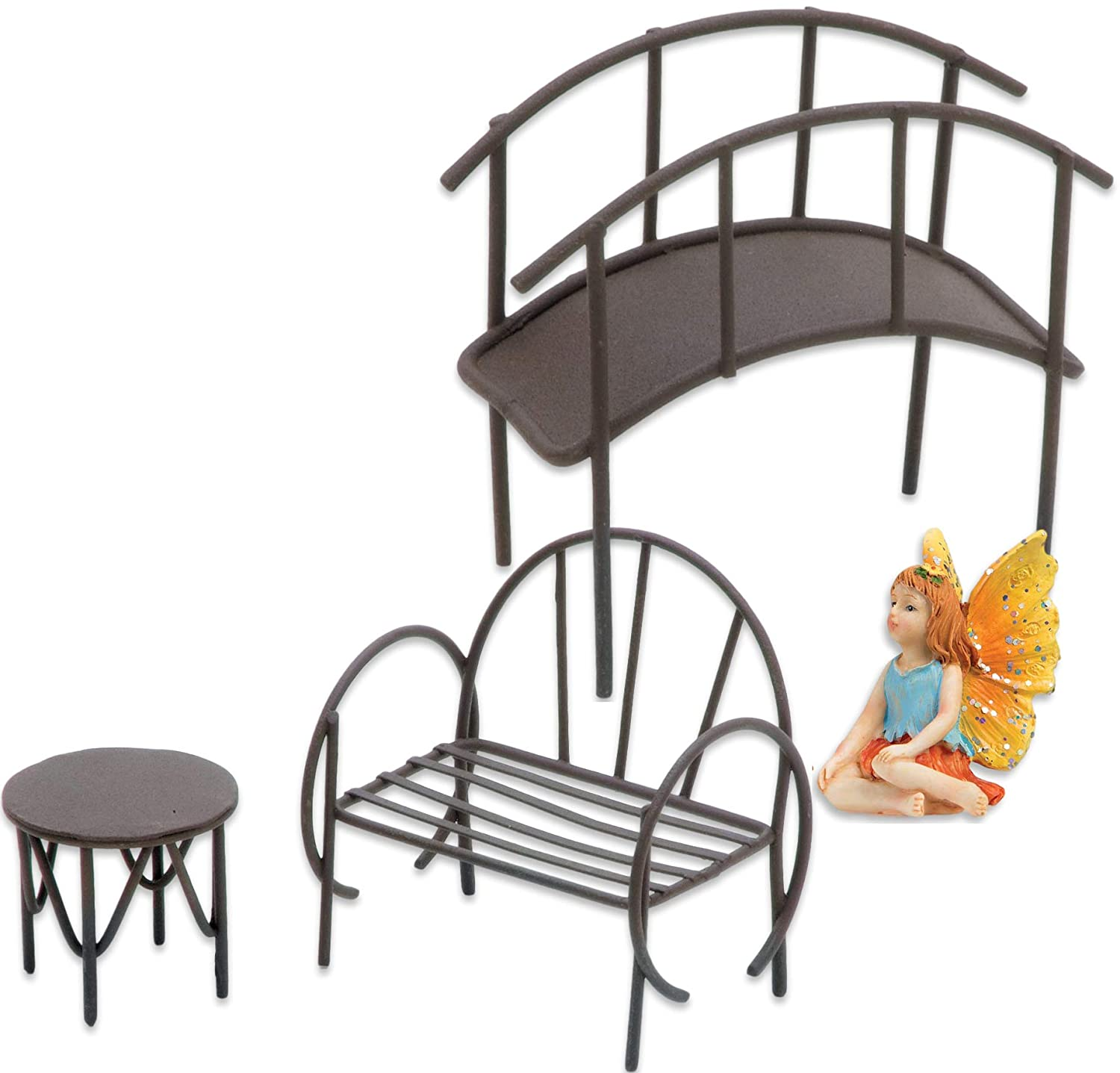 Superior Home Arts Fairy Garden Accessories Metal Bridge, Table, Bench, and Fairy Bundle of 4 Miniature Items Fairy Garden Starter Kit (Fairy with Orange Yellow Wings Blue Shirt)