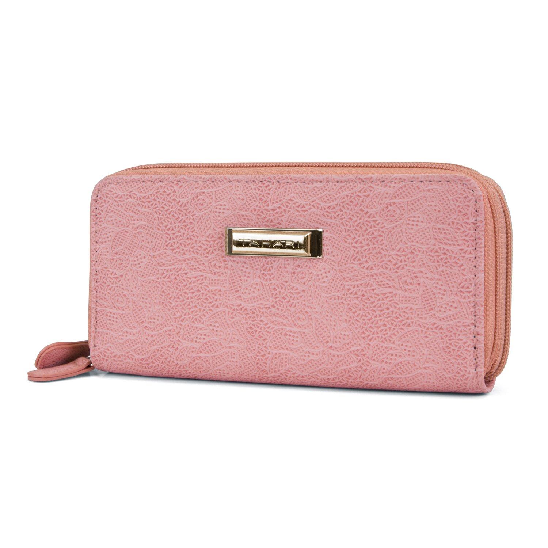 Tahari Double Date Zip Around Womens RFID Clutch Wallet Organizer (Pink)