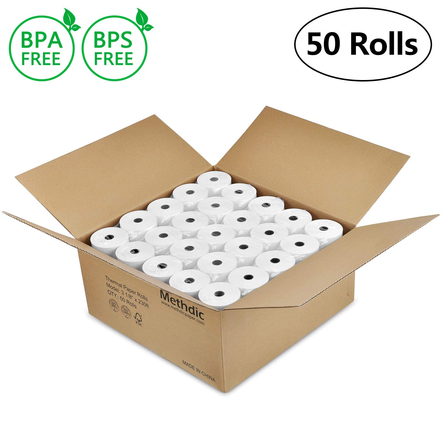 Thermal Paper Roll 3 1 8' x 230(3 1/8 inch x 230 ft) BPA BPS free Thermal Receipt Paper Roll 50 Pack by Methdic by Methdic