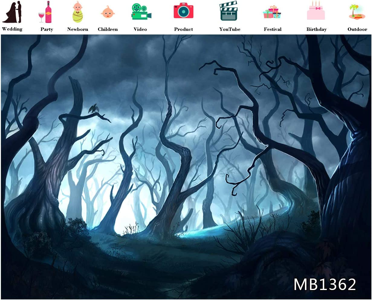 LB 10x8ft Halloween Themed Backdrop for Photography Dark Forest Background for Photoshoot Withered Trees Decorations for Halloween Blue Gloomy Scenery Background Decorations for Banner Photo Booth