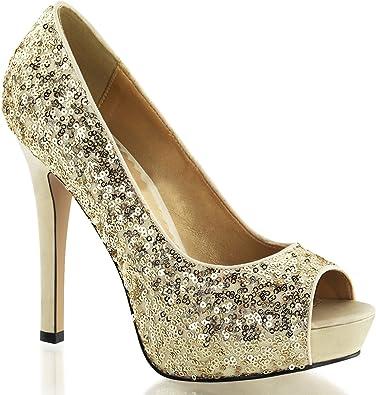 Womens Peep Toe Gold Sequin Pumps
