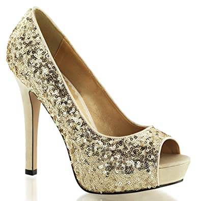 e14ca6dcdf36 Summitfashions Womens Peep Toe Gold Sequin Pumps Sparkly Dress Shoes with  4.75 Inch Heels Size