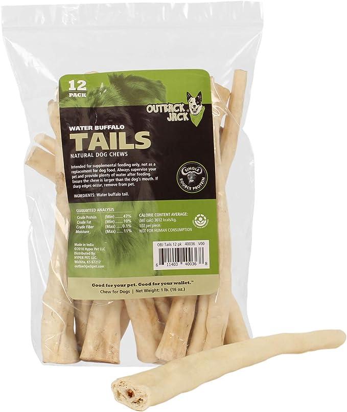 Outback Jack Water Buffalo Tails 100% Natural Dog Treats