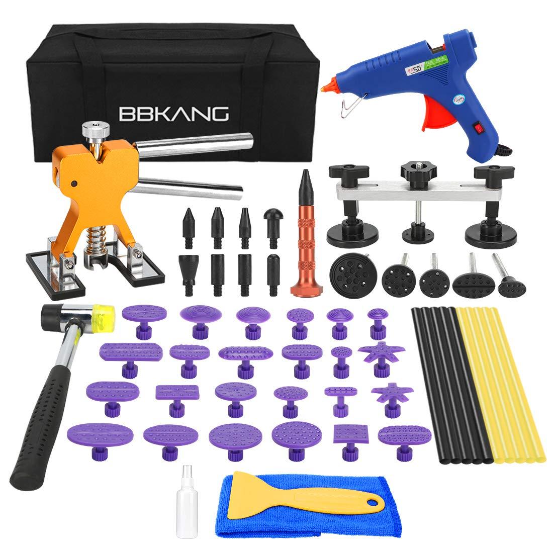 BBKANG Paintless Dent Removal Repair Remover Tool 58pcs Kit Hail Dent Bridge Puller Set Dent Lifter Tap Down Tools for Car Hail Damage Door Ding Fix Tool Kit