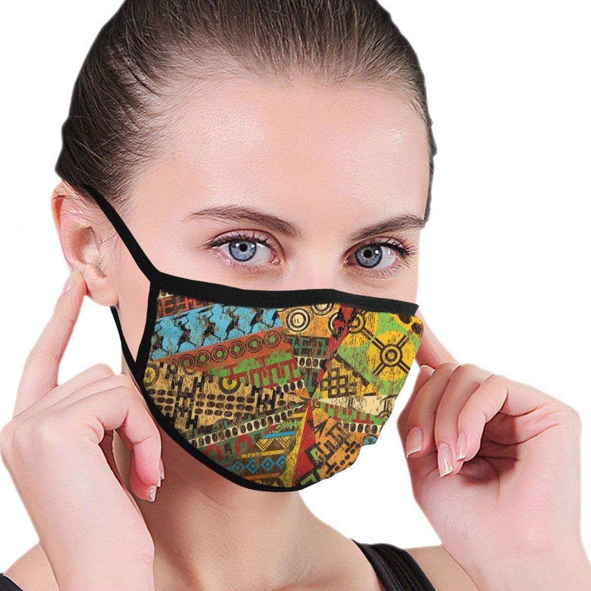 P PIPIGOU Decorative Mask,Unisex Adult Anti-Dust African Motifs Traditional Art Geometric Cover Washable for Men Women