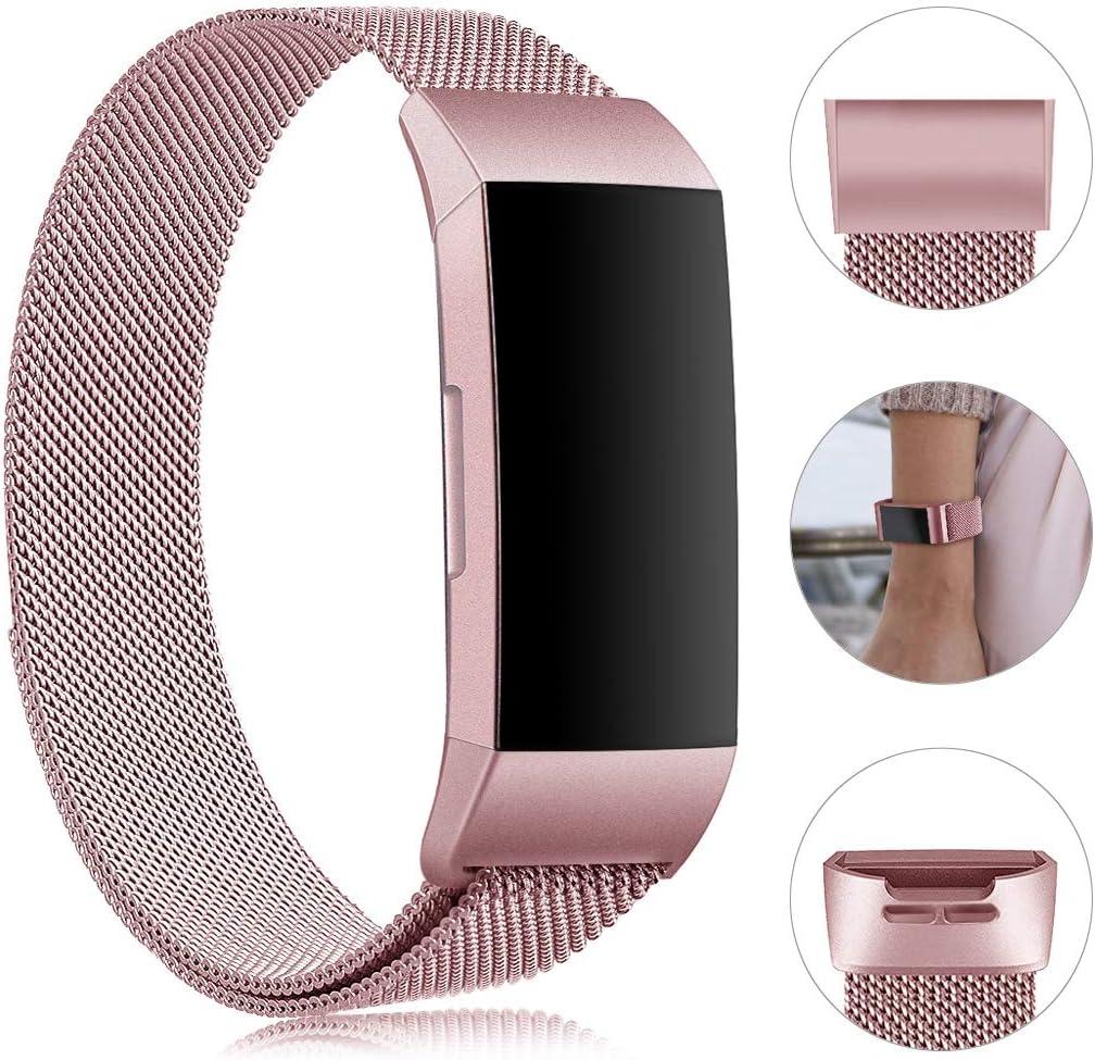 Gogoings Bracelet pour Fitbit Charge 3 Bracelet Rechange Sport Band R/églable en Acier Inoxydable Compatible avec Fitbit Charge3 pour Femme /& Homme Sans Montre