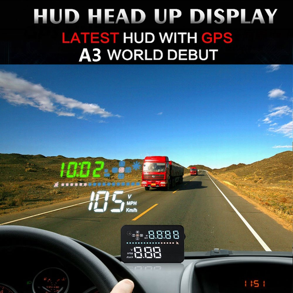 color tree 3.5 inch HUD Head Up Display Speed Alarm Display KM/h MPH LED Screen Apply To All Cars