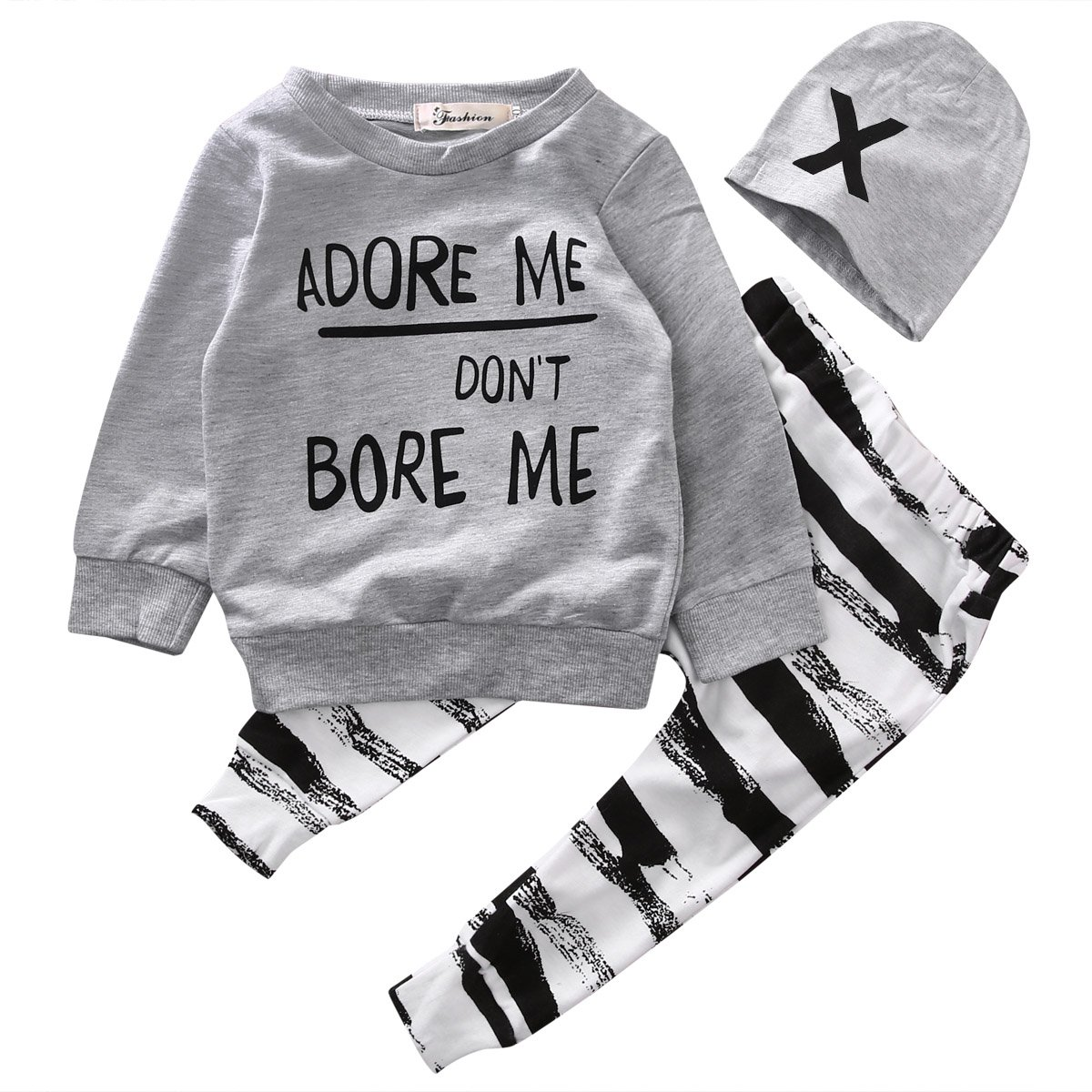honeys Baby Boy Girl 3pcs Set Outfit Word Print Hoodies Top+Retro Striped Pants+Hat