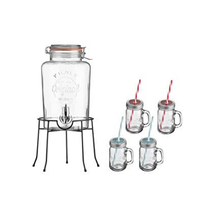 KILNER Set de regalo de dispensador de bebidas, transparente, ...