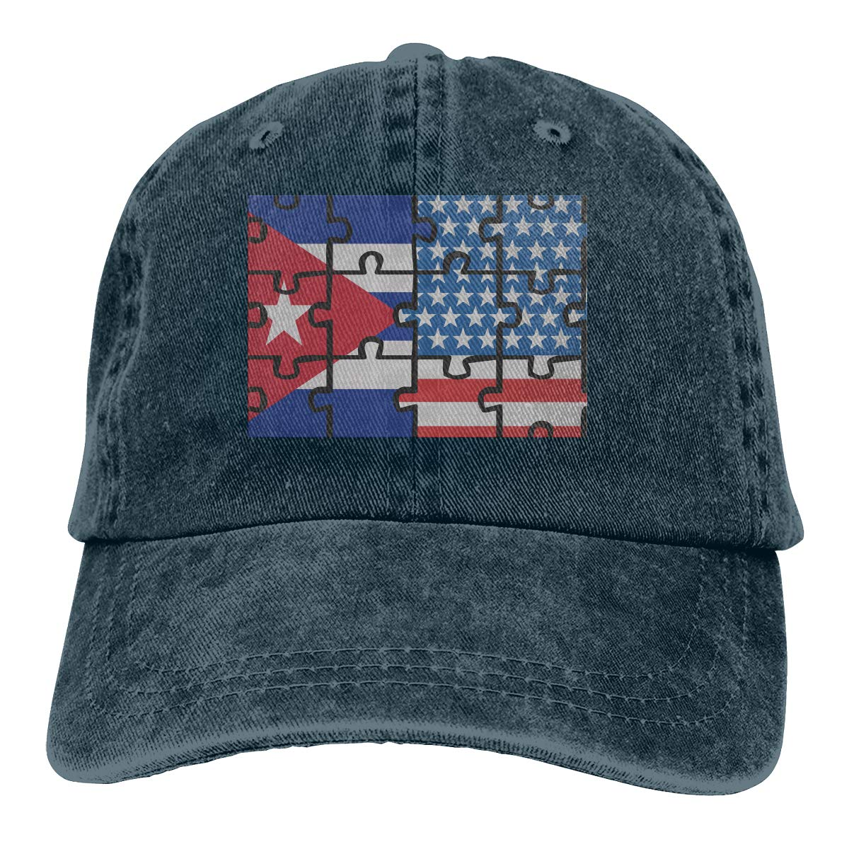 TBVS 77 Men Women Distressed Cotton Denim Baseball Cap Cuba USA Flag Puzzle Adjustable Plain Cap