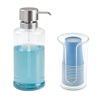 mDesign Juego de 2 accesorios de baño de Resipreme/plástico – Dispensador de líquidos para