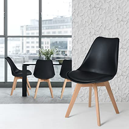 FurnitureR Set Of 4 Dining Chair Tulip Natural Solid Wood Legs Design With  Cushioned Pad Armless
