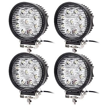 4 Pcs Faro de trabajo para 27 W Foco LED resistente al agua Faro Adicional Con