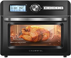 CROWNFUL 19 Quart Air Fryer Toaster Oven, Convection Roaster with Rotisserie & Dehydrator, 10-in-1 Countertop Oven, Original Recipe and 8 Accessories Included, UL Listed (Black) (Renewed)