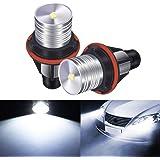 AMBOTHER 2pcs Phare Auto Ampoules Xénon Voiture Feux Avant 3W 7000K Blanc Yeux d'Ange Headlight