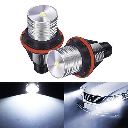 AMBOTHER 2 x LED Auto Faros de Xenón Auto Headlight Angel Eyes luz RGB LED marcador