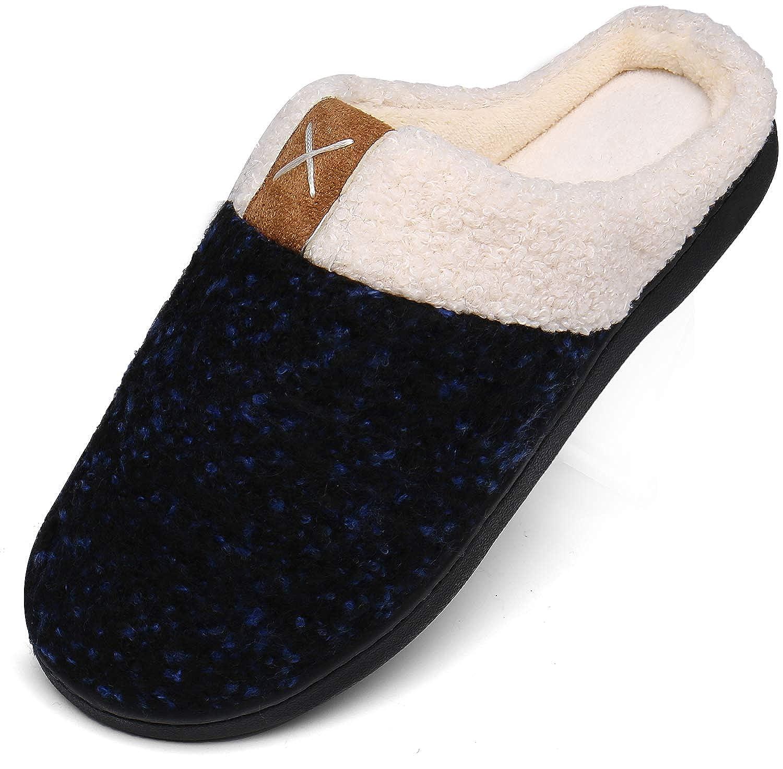 Chausson Hommes Femmes Hiver Pantoufles Mousse M/émoire Peluche Chaud Chaussons Maison Chaussures Antid/érapantes Slippers
