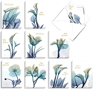 The Best Card Company, Blooming Expressions - 20 Sympathy Thank You Cards (4 x 5.12 Inch) - Watercolor Flowers (10 Designs, 2 Each) AM6221STG-B2x10