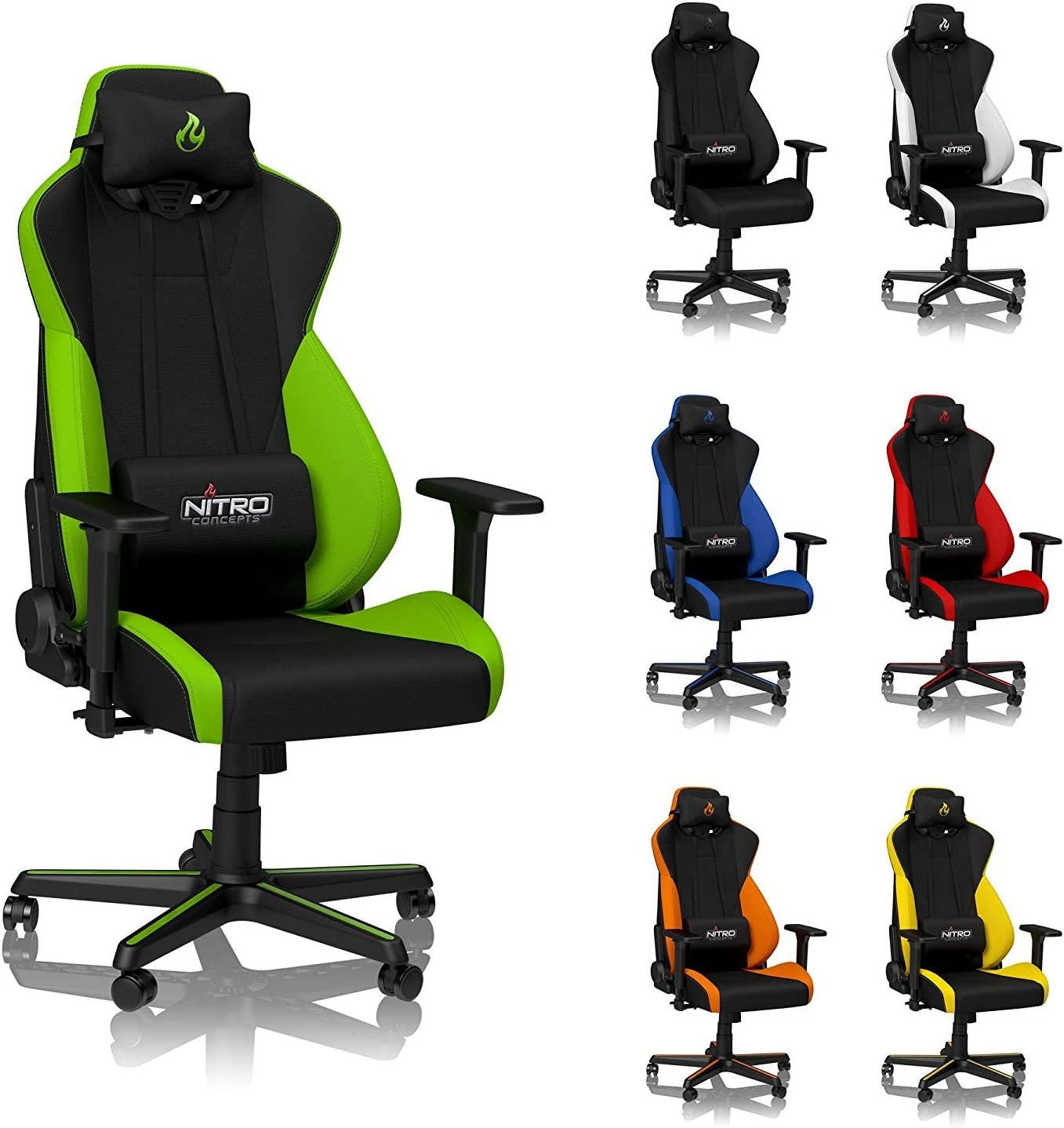NITRO CONCEPTS S300 Gaming Chair – Atomic Green – Office Chair – Ergonomic – Cloth Cover – Up to 300 lbs Users – 90 to 135 Reclinable – Adjustable Height Armrests