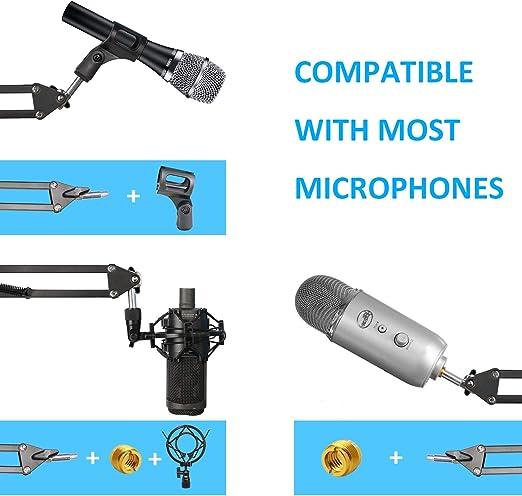 Rode Podmic Mikrofonst/änder mit Popschutz Professional Gelenkarm und Windschutz f/ür Rode Podmic von YOUSHARES