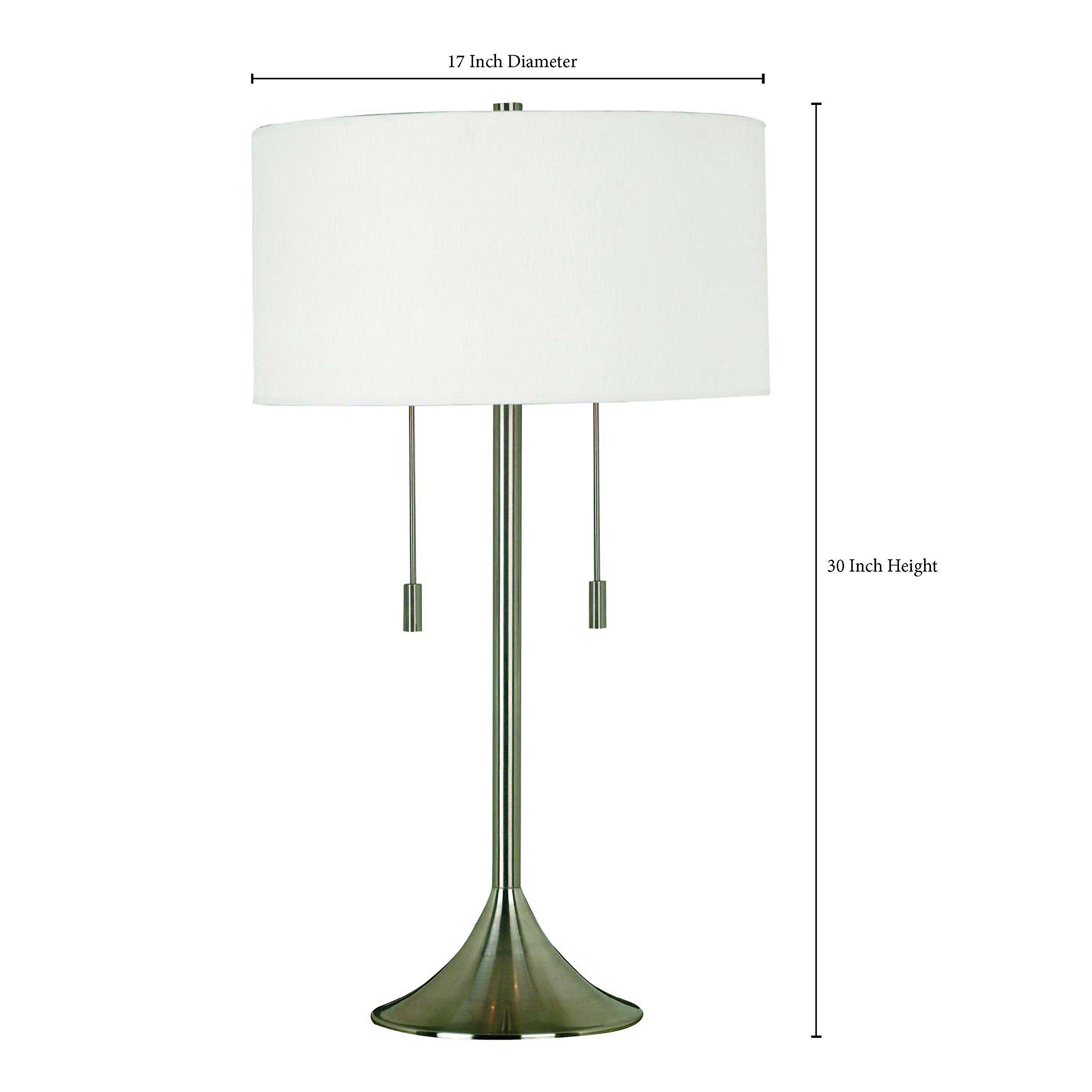 Kenroy Home 21404BS Stowe Table Lamp In Brushed Steel Finish With A White Textured Drum Shade, 17'' x 17'' x 28''