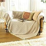 1 X Natural 100% Cotton Traditional Como Blanket Home Sofa Bed Throw - 127 x 152cm
