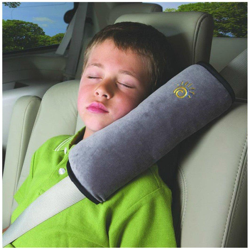 Baby Car Pillow, Promisen® Outdoor Children Baby Headrest Neck Support Pillow Shoulder Pad for Car Safety Seatbelt (Gray)