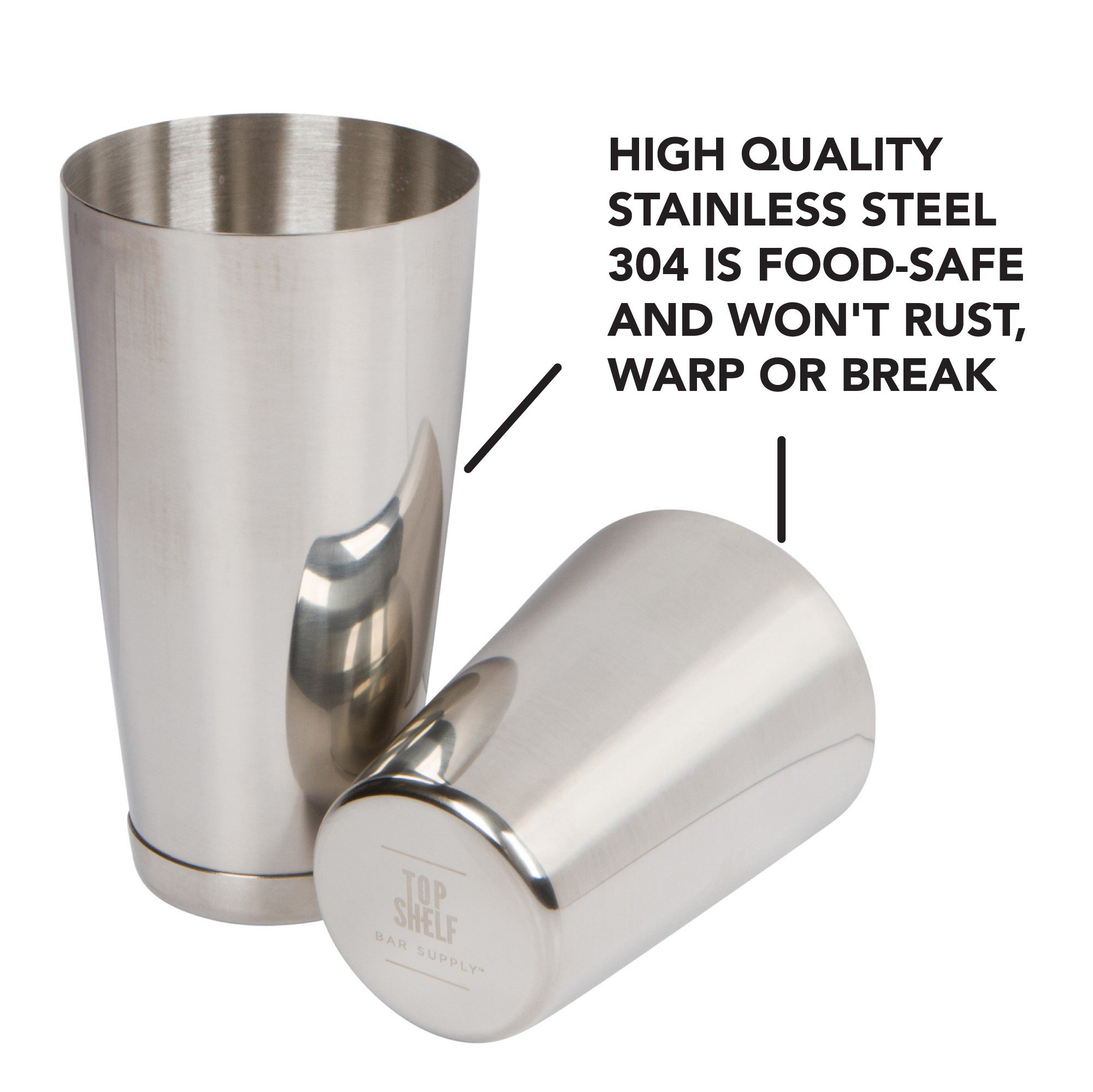 Stainless Steel Boston Shaker: 2-piece Set: 18oz Unweighted & 28oz Weighted Professional Bartender Cocktail Shaker by Top Shelf Bar Supply (Image #4)