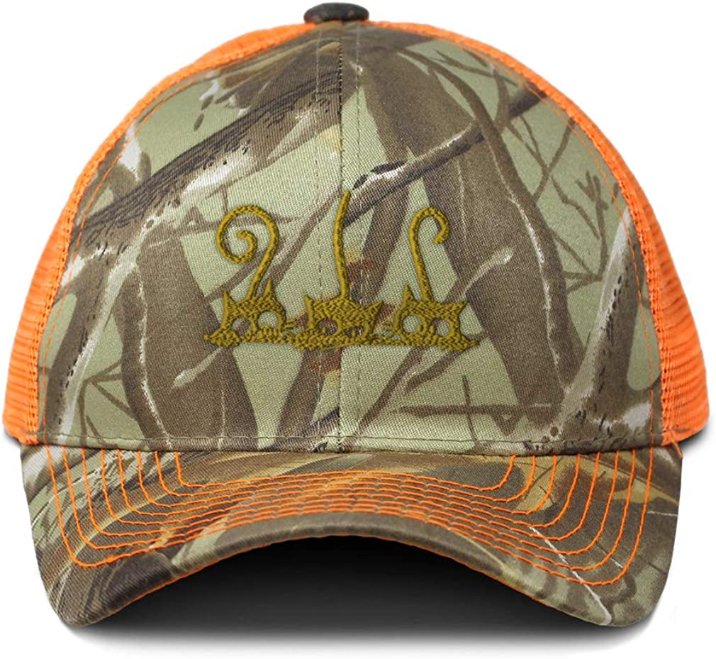 Custom Camo Mesh Trucker Hat Cat 3 Half Head and Tails Embroidery One Size