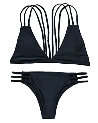 5a27c2c79a Amazon.com  OMKAGI Women Halter Fashion Sexy Swimwear 2 Pieces Swimsuit  Bikini Set with Small Strap  Clothing